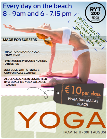 If you are planning to be in Lisbon this August, come and join us for a yoga session on Praia Das Macas Beach near Sintra!!